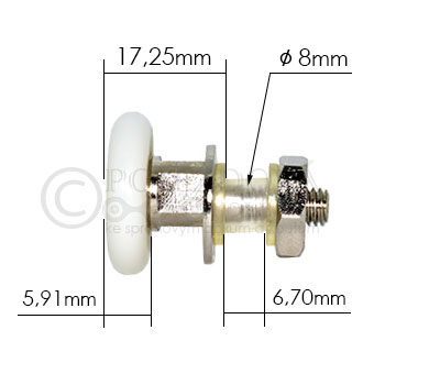 pojezdové kolečko ke sprchovému koutu B03 - velikost 1